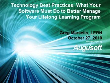 Technology Best Practices: What Your Software Must Do ... - Augusoft