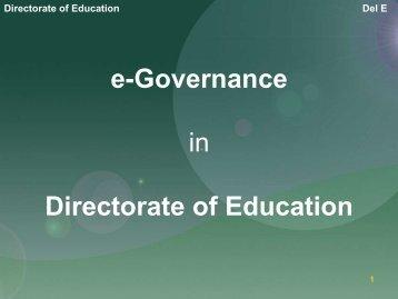eGovernance by Directorate of Education - eGovReach