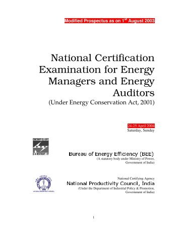 National Certification Examination for Energy Managers and ...A ...