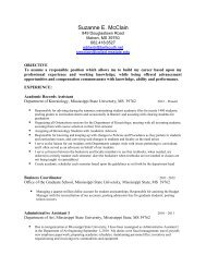 Complete Vitae - Department of Kinesiology - Mississippi State ...
