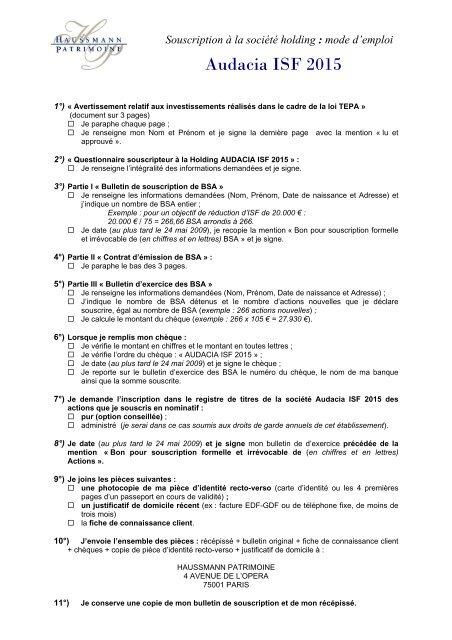 Audacia ISF 2015 - Haussmann Patrimoine