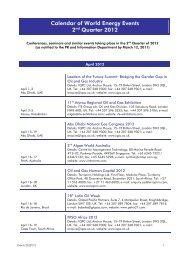 Calendar of World Energy Events
