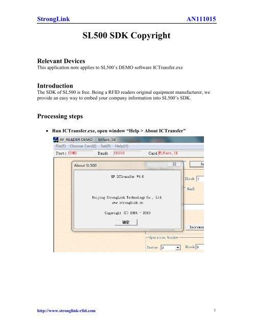 AN111015 - SL500 SDK Copyright - StrongLink