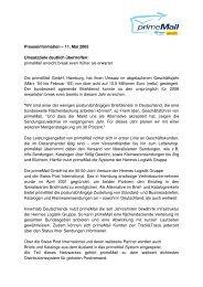Presseinformation – 11. Mai 2005 Umsatzziele deutlich ... - primeMail