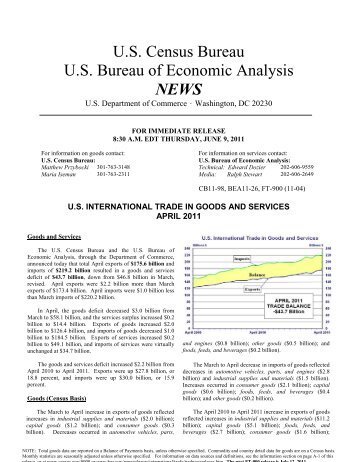US International Trade in Goods and Services April 2011