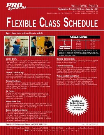 FLEXIBLE CLASS SCHEDULE - PRO Sports Club