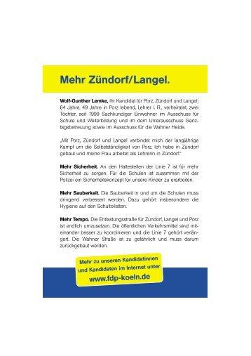 Mehr Zündorf/Langel. - FDP-Köln