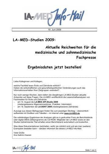 LA-MED-Studien 2009: Aktuelle Reichweiten für ... - bei der LA-MED