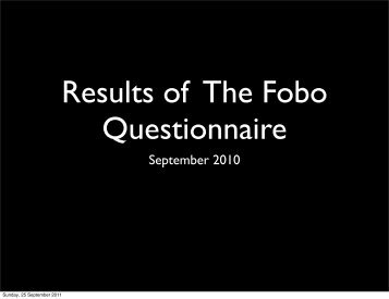 Survey Results - fobo - Folk without Book