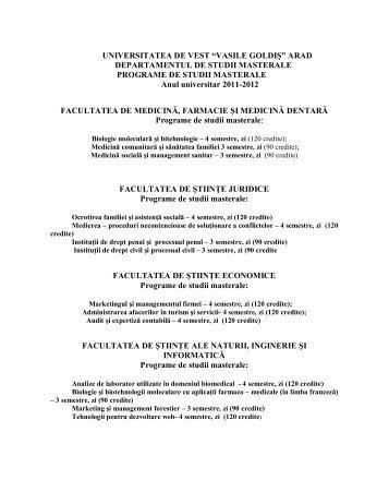 "Programe de studii masterale - Universitatea de Vest ""Vasile Goldis ..."
