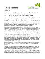 Bolsters Late-Stage Development and Industry Policy - Ausbiotech ...