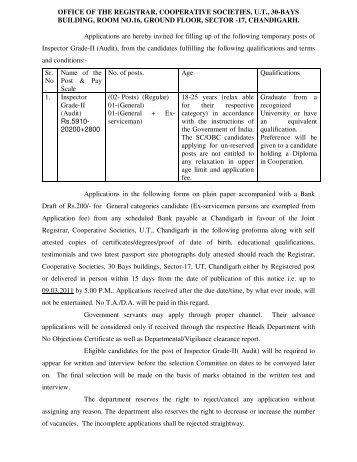 OFFICE OF THE REGISTRAR, COOPERATIVE SOCIETIES, U.T., 30 ...