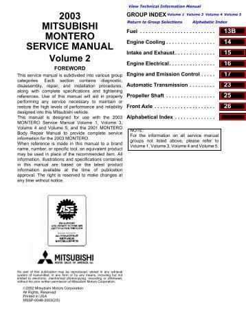 mitsubishi montero pajero 2007 2012 service repair manual