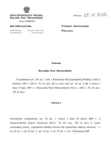 RZECZPOSPOLITA POLSKA Rzecznik Praw Obywatelskich ...