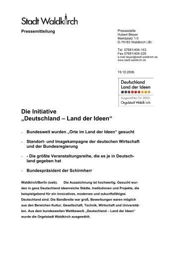 """Die Initiative """"Deutschland – Land der Ideen"""" - Orgelwelt Waldkirch"""