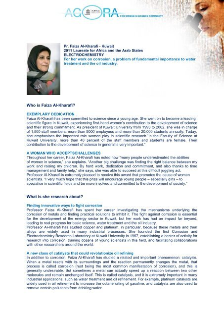 Who is Faiza Al-Kharafi? What is she research about?