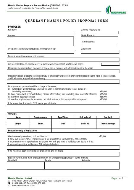 Quadrant Marine Policy Proposal Form Boat Insurance