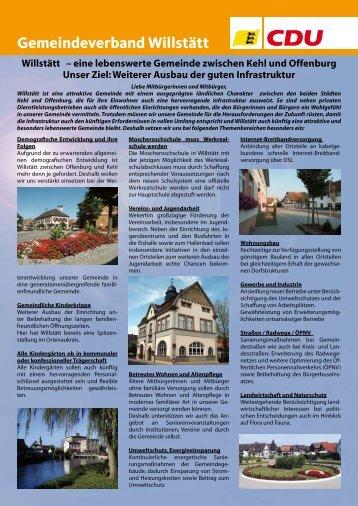 Gemeindeverband Willstätt Wahl des Gemeinderats - CDU ...