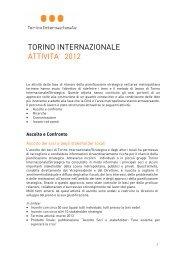 TORINO INTERNAZIONALE ATTIVITA' 2012 - Torino Strategica