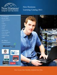 New Horizons Learning Catalog 2013 - New Horizons Computer ...
