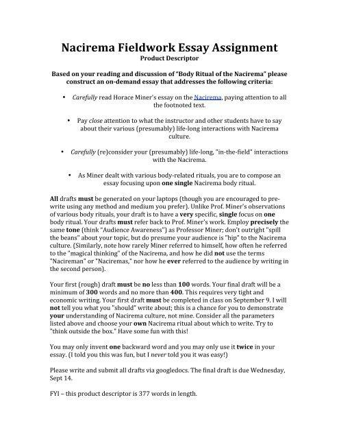 nacirema culture essay