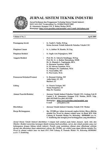 jurnal sistem teknik industri - USUpress - Universitas Sumatera Utara