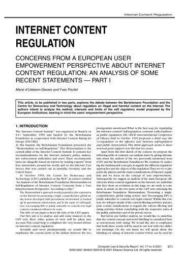 a look at the responsibility of regulating the internet Cambridge core - governance - regulating speech in cyberspace - by emily b laidlaw.