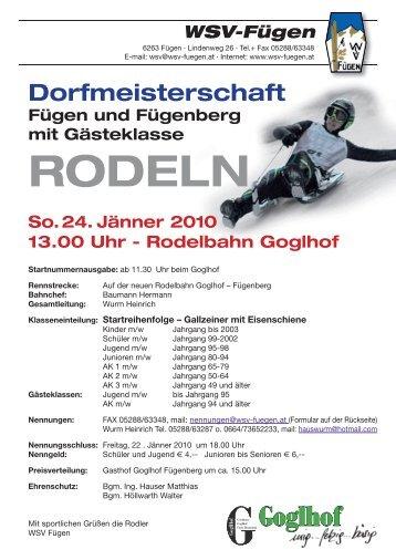 RODELN - WSV Fügen