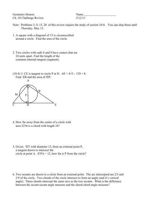 Geom H worksheets/5 - 12 - 11 10R08 pdf