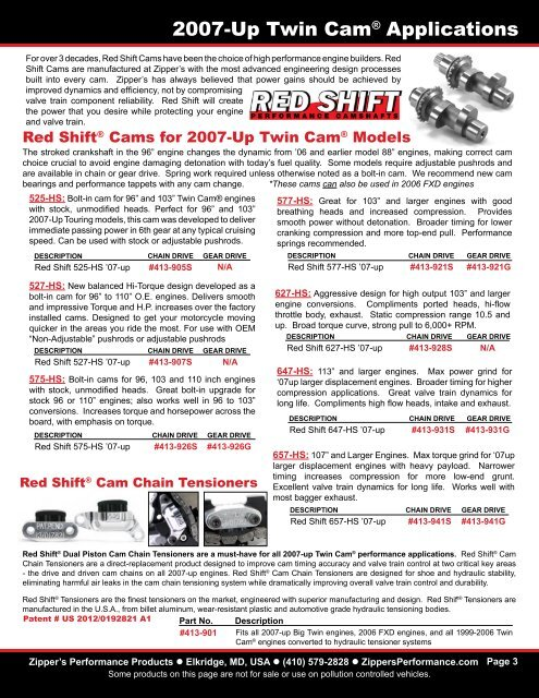Red Shift ® Cams TC Appl