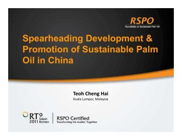 Spearheading Development & Promotion of Sustainable ... - RT9 2011