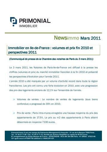 News PrimonialImmo - Mars 2011 - Primonial Immobilier