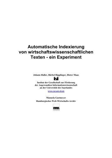 Automatische Indexierung von wirtschaftswissenschaftlichen ... - IAI