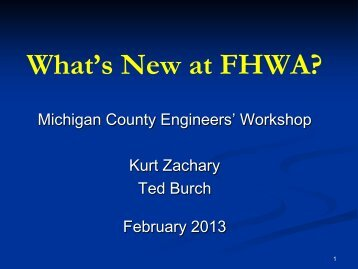 FHWA Update - Michigan's Local Technical Assistance Program