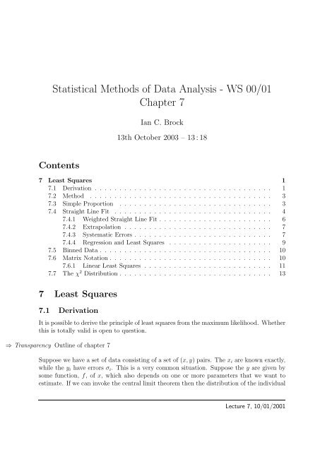 Statistical Methods of Data Analysis - WS 00/01 Chapter 7 - ZEUS