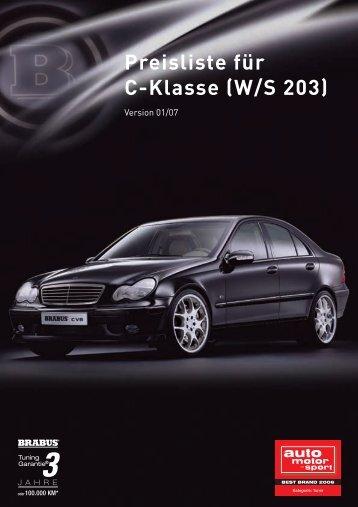 Preisliste für C-Klasse (W/S 203)