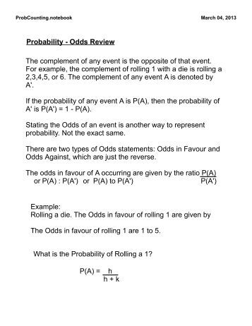 Worksheets Probability And Odds Worksheet probability the complement of an event five worksheet pack math odds review any is the