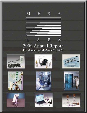 Annual Report 2009 - Mesa Labs