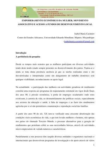 EMPODERAMENTO ECONÓMICO DA MULHER, MOVIMENTO ...