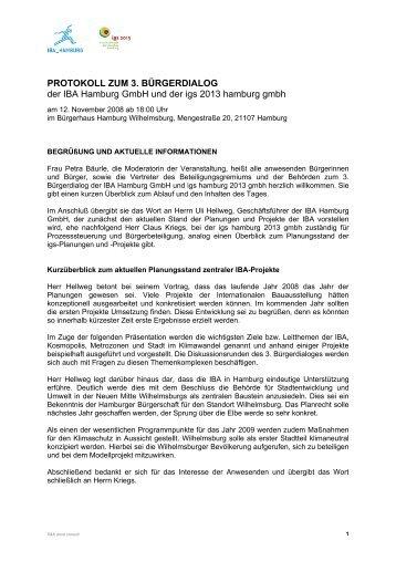 PROTOKOLL ZUM 3. BÜRGERDIALOG der IBA Hamburg GmbH ...