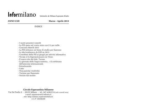 Informilano marzo-aprile 2013 - Circolo Esperantista Milanese