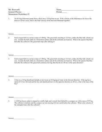 Momentum Worksheet #3