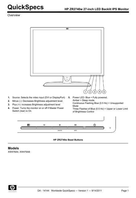 HP ZR2740w 27-inch LED Backlit IPS Monitor