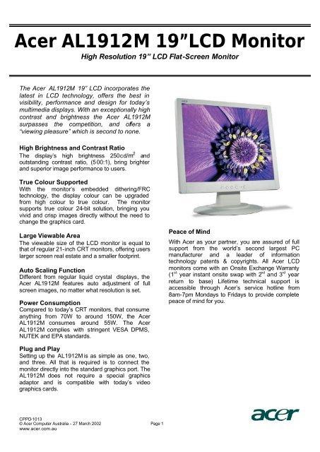 Acer AL1912M 19†LCD Monitor