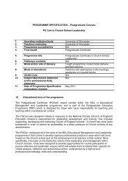 Postgraduate Courses PG Cert in Church School Leadership 1 ...
