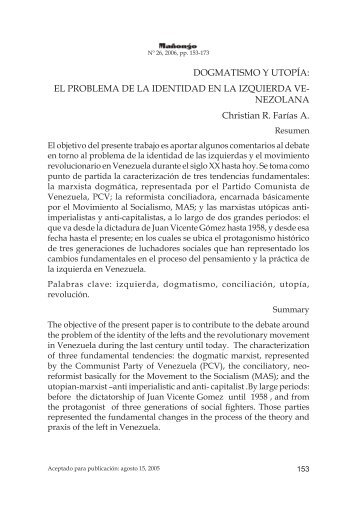 DOGMATISMO Y UTOPÍA: EL PROBLEMA DE LA IDENTIDAD EN ...