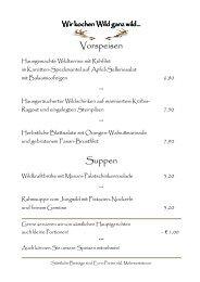 Vorspeisen Suppen - Gasthof Pension St.Wolfgang