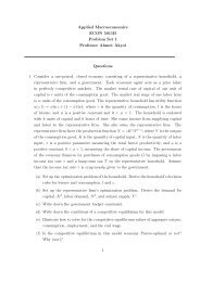 Applied Macroeconomics ECON 5011B Problem Set 1 Professor ...