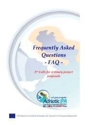 FAQ 2nd call - IPA Adriatic Cross-Border Cooperation Programme