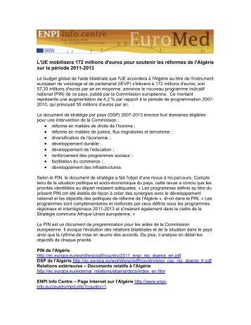 Dossier de l'ENPI Info Centre sur le PIN de l'Algérie - EU ...